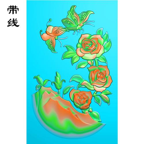 牡丹花鸟精雕图(MDN-014)