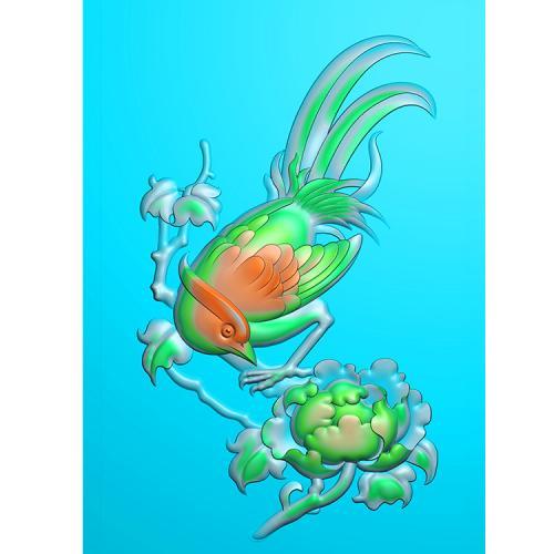 牡丹花鸟精雕图(MDN-017)