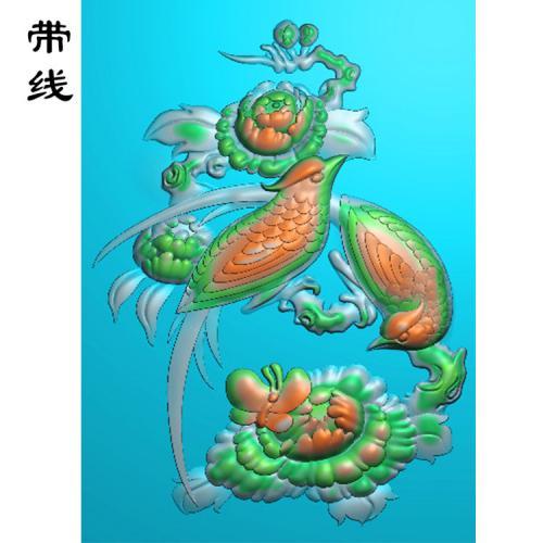 牡丹花鸟精雕图(MDN-018)