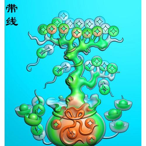 铜钱福袋招财树精精雕图(HC-003)