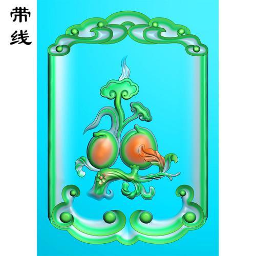 如意桃子挂件精雕图(HC-029)