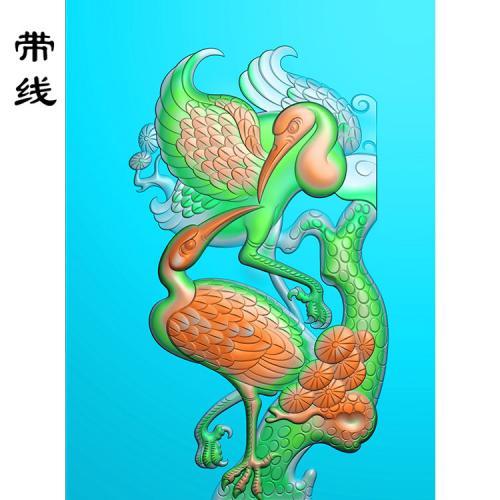 松鹤仙鹤精雕图(GJH-003)
