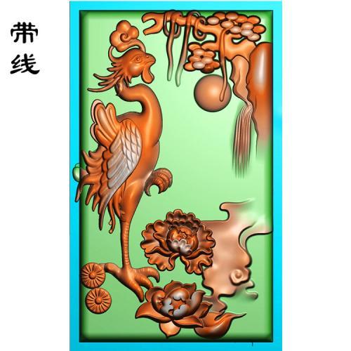 松鹤牡丹精雕图(GJH-005)