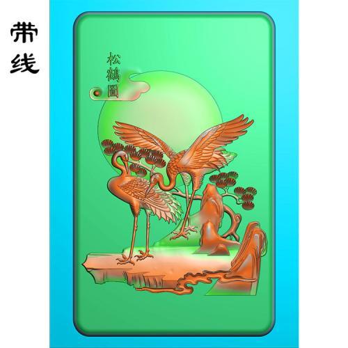 仙鹤松鹤精雕图(GJH-012)