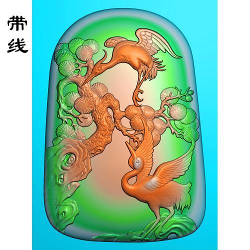 仙鹤松鹤精雕图(GJH-013)