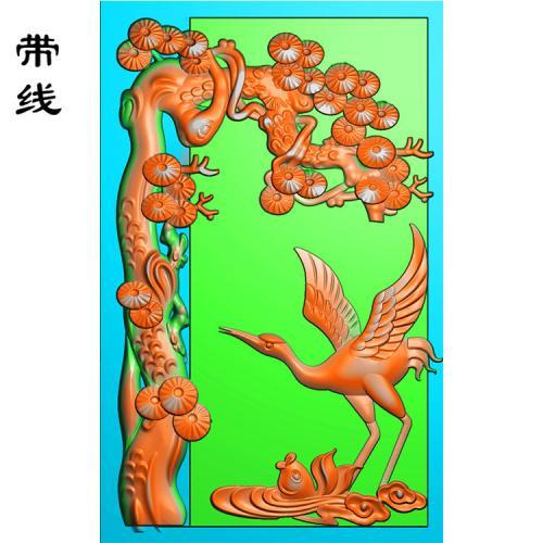 仙鹤松鹤精雕图(GJH-014)