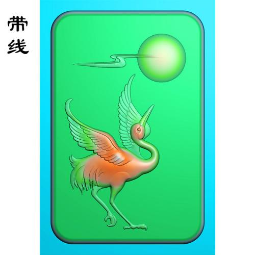 玉雕挂件松鹤精雕图(GJH-020)