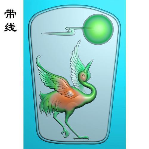 玉雕挂件松鹤精雕图(GJH-021)