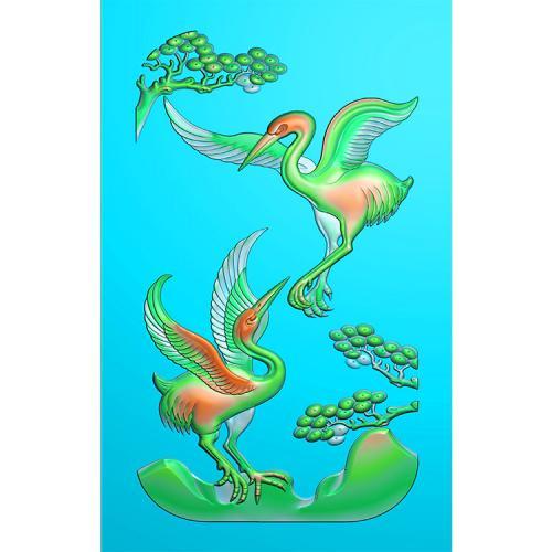 玉雕挂件松鹤精雕图(GJH-023)