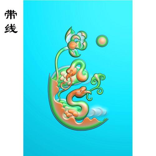 玉雕仙鹤送寿一套精雕图(GJH-001)