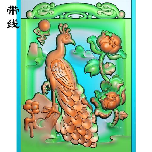 牡丹孔雀精雕图(GKQ-001)
