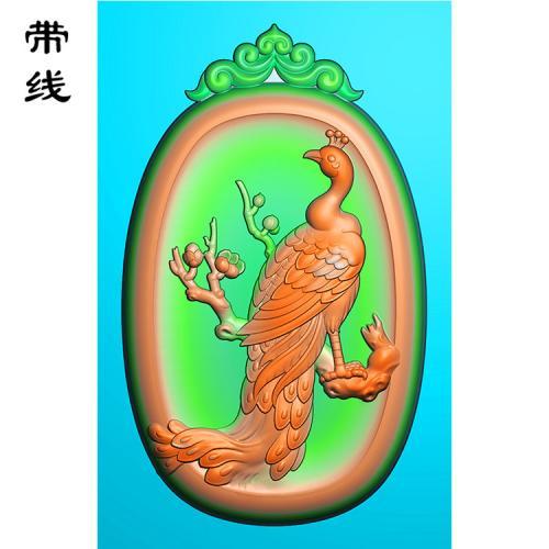 仿古花头孔雀梅花百鸟之王精雕图(GKQ-003)