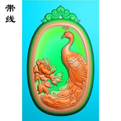 仿古花头孔雀梅花百鸟之王精雕图(GKQ-004)