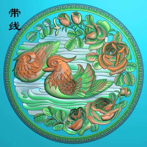 圆盘鸳鸯戏水玫瑰花精雕图(GYY-001)
