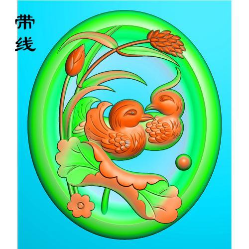 莲花鸳鸯戏水牌精雕图(GYY-005)
