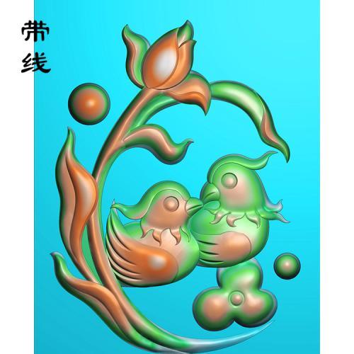 鸳鸯戏水精雕图(GYY-006)