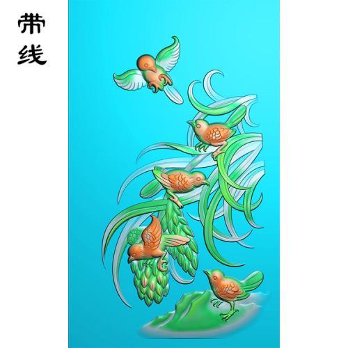 花鸟麻雀精雕图(QHN-009)