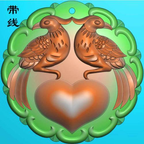 花鸟挂件精雕图(QHN-010)