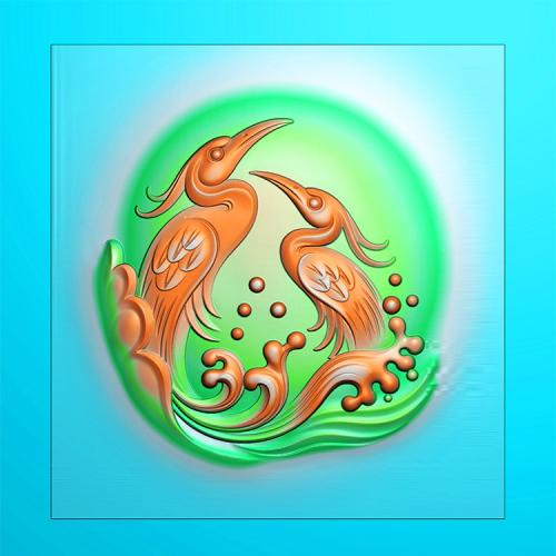 花鸟白鹭鸶精雕图(QHN-011)