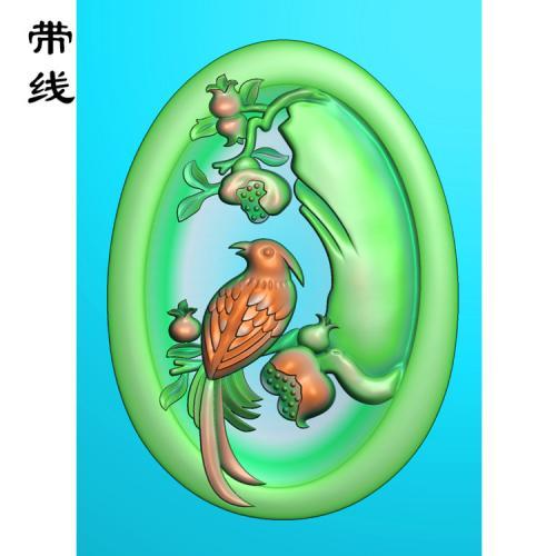 石榴花鸟精雕图(QHN-015)