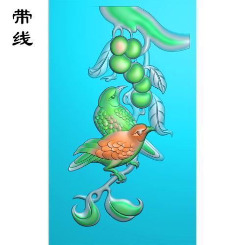 喜上眉梢花鸟精雕图(QHN-018)