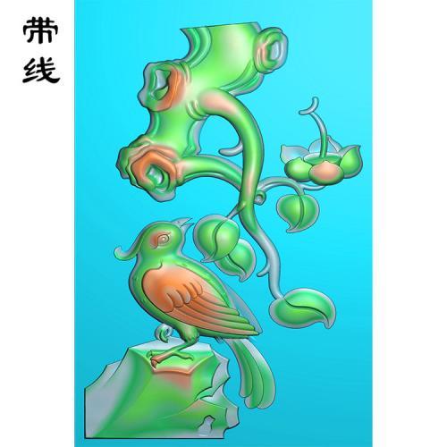 玉雕挂件花鸟喜鹊报喜精雕图(QHN-021)