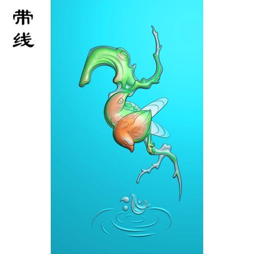 玉雕鸟水波荡漾花鸟精雕图(QHN-024)