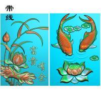 46牌两条鱼荷花鱼精雕图(GJY-023)