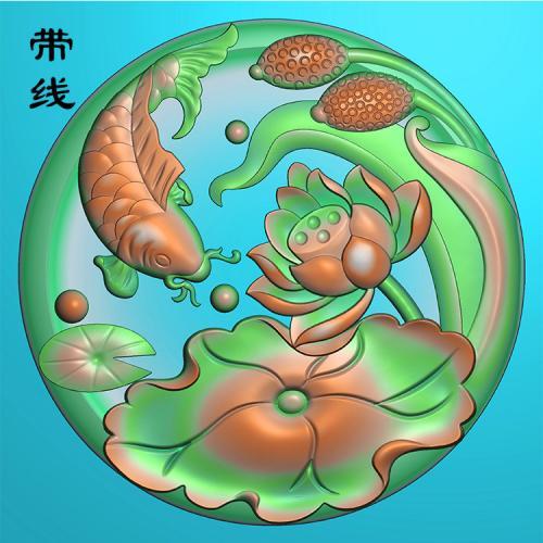 挂件荷花鱼精雕图(GJY-062)
