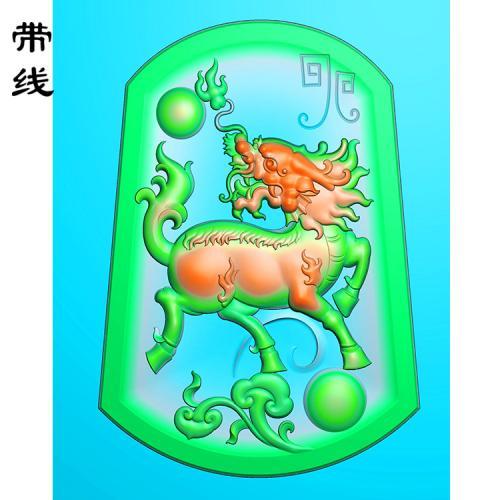 玉雕麒麟精雕图(QL-003)