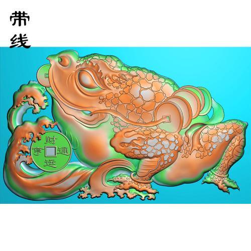 招财蟾蜍金蟾精雕图(JC-006)