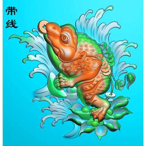招财蟾蜍精雕图(JC-001)