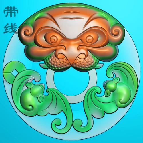 玉雕圆双福捧寿蝙蝠精雕图(BF-020)