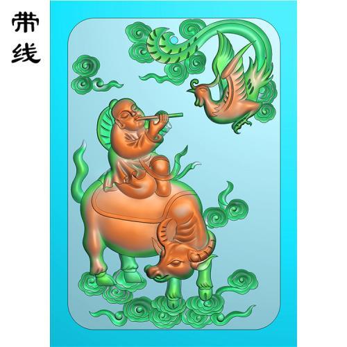 童子骑牛牛精雕图(GN-012)