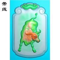 玉雕牛挂件精雕图(GN-013)