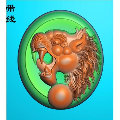 挂件虎头精雕图(GH-022)