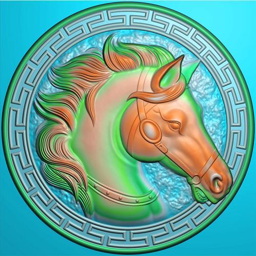 圆盘马头精雕图(GM-020)