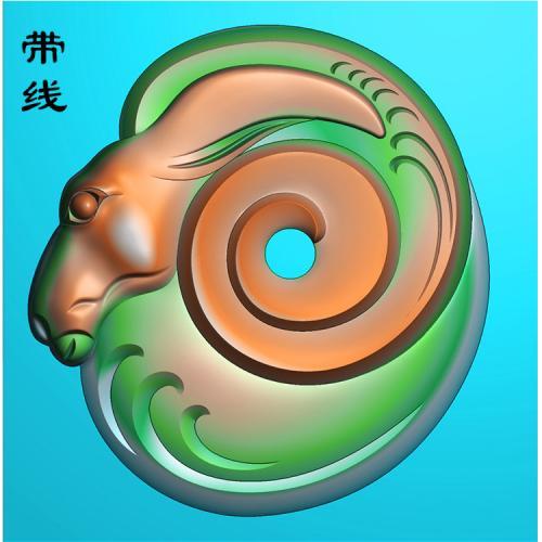 玉雕羊头精雕图(GY-005)