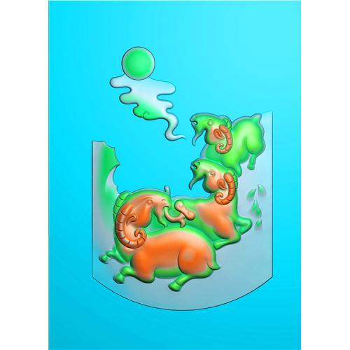 玉雕羊精雕图(GY-007)
