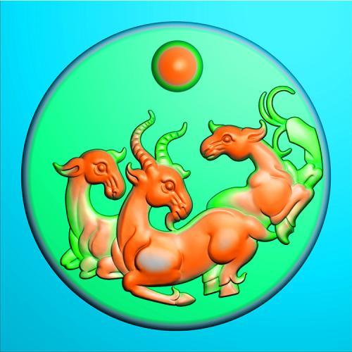 玉雕羊精雕图(GY-023)