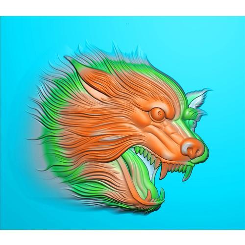 狼头精雕图(GL-011)