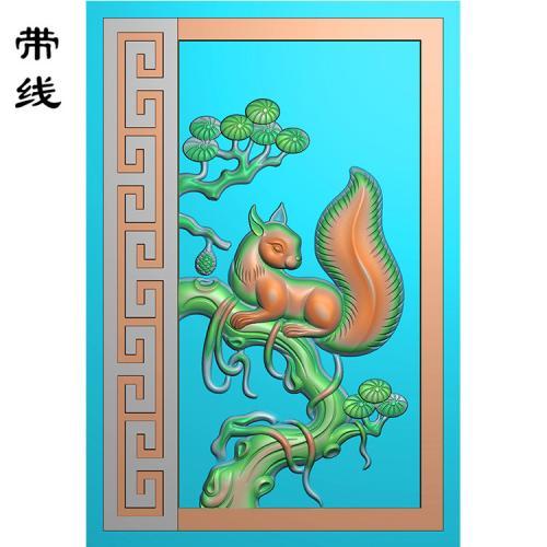 松树松鼠精雕图(QDW-003)