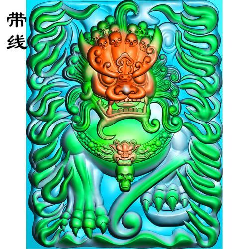 火焰狮子精雕图(QDW-009)