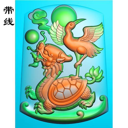 松鹤齐龄精雕图(QDW-010)