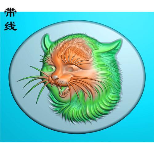 玉雕挂件猫咪头精雕图(QDW-014)