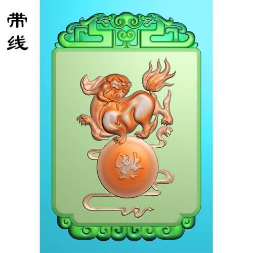 玉雕狮子送福挂件精雕图(QDW-015)