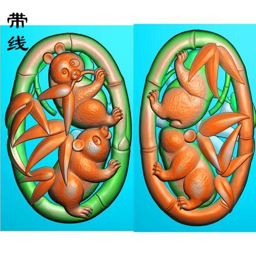 双面竹子熊猫精雕图(QDW-001)