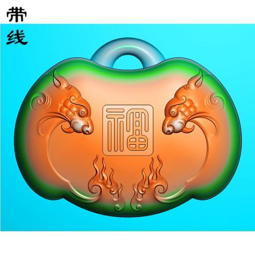 仿古神兽福寿长命锁精雕图 (CMS-115)