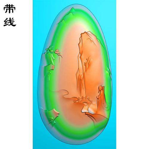 山水建筑人物挂件精雕图(SSG-011)