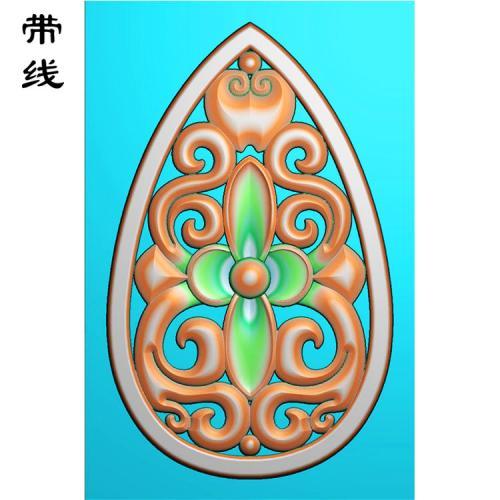 镂空草花挂件精雕图(LK0196)